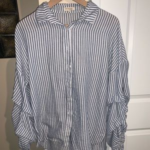 Striped loose button up top